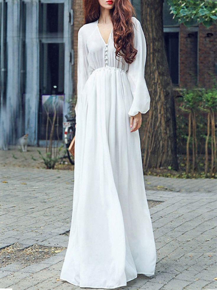 Buy White V Neck Long Sleeve Chiffon Dress from abaday.com, FREE shipping Worldwide - Fashion Clothing, Latest Street Fashion At Abaday.com
