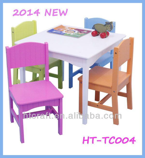 HT-TC004 classical style strong colorful wooden children wooden study table and chair set in 1 table 4 chairs