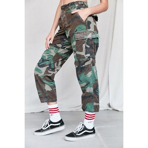 Vintage Stonewashed Camo Surplus Pant ($69) ❤ liked on Polyvore featuring pants, high rise pants, camoflauge pants, high waisted trousers, cotton trousers and camouflage pants