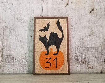 Primitive Fall Decor, Halloween Decor, Scared Cat,Pumpkin, Fall Decoration, Country Fall Decor, Rustic Fall, Primitive Halloween Decor