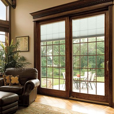 designer series sliding patio doors with built in blinds pella - Patio Door Ideas