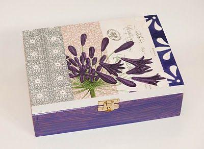 Herbaciarka/Szkatułka- fioletowe dzwoneczki (efekt- wypukłe ornamenty)