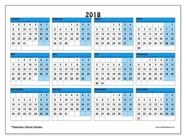 Kalender 2018, 39MZ, om gratis te printen. Jaarlijkse kalender.