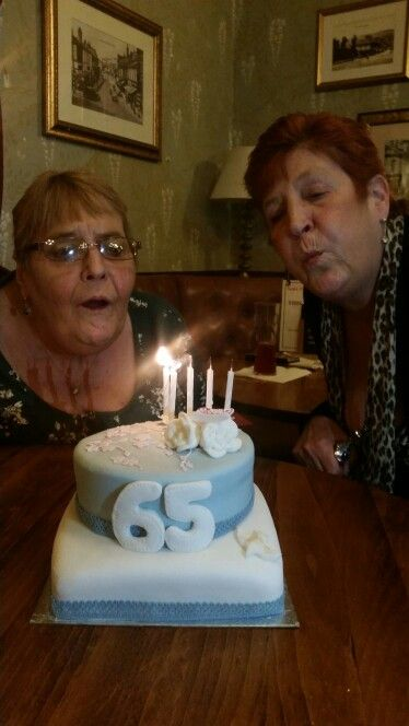 Latest cake for my mum and auntie 65th xx