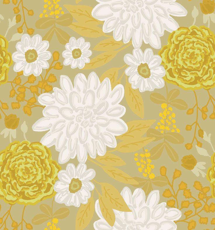 Estampa Floral Crisântemo by Tati Barthmann para Promex Decor - projeto do livro Bloom Fé Brasil