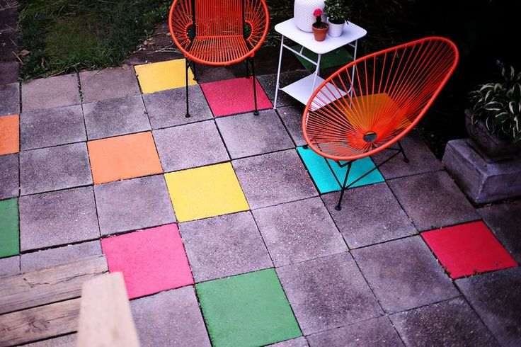 DIY: painted patio tiles
