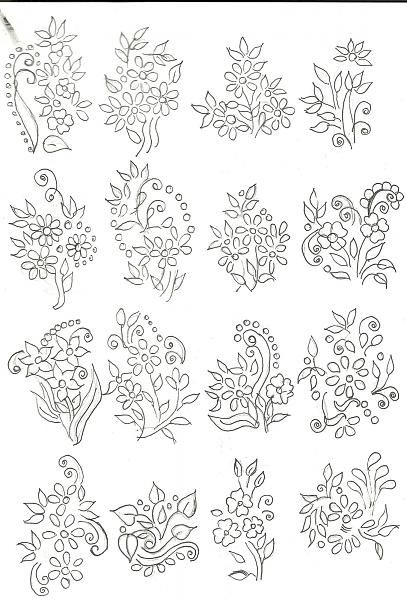 Some embroidery / fabric painting designs for sarees and dresses.