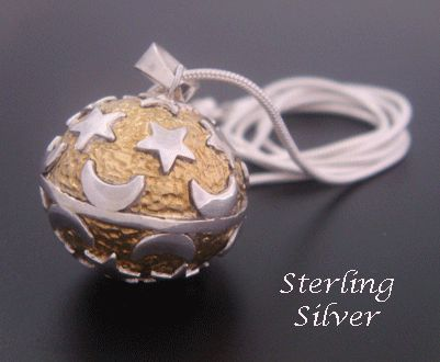 Harmony Ball with Stars & Moons in Gold Embossed Sterling Silver Genuine 925 Sterling Silver Harmony Ball Necklace 'Moon and Stars' from www.harmonyballpendant.com .... #harmonyball #giftsforwomen #mothersday #mothersdaygiftideas #jewelry #jewellery #womensfashion #angelcaller #bolanecklace also found at https://www.etsy.com/shop/HarmonyBalls and www.harmonyball.net.au