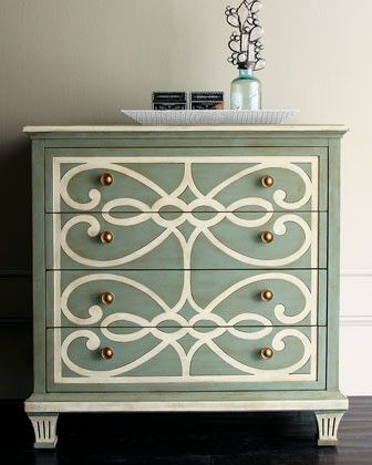 """Hand-painted scrolls add interest and beauty to this """"Bethany Scrolls"""" chest with a contrasting top.  Four drawers provide great storage."""