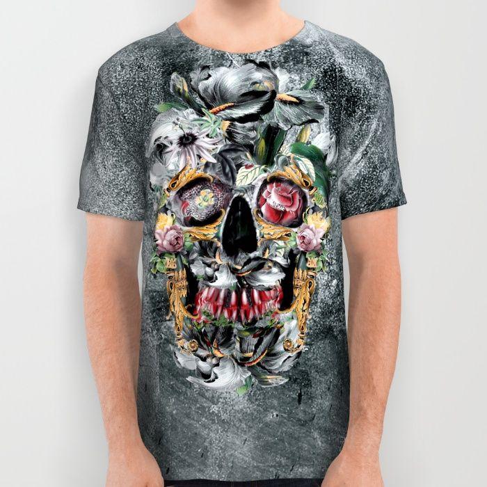 Skull on old grunge III All Over Print Shirt #skull #tshirt #society6