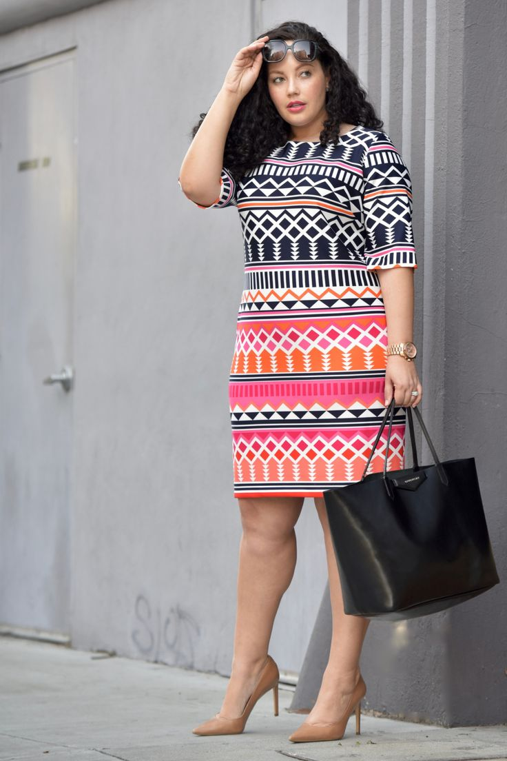 Printed Sheath Dress, nude pumps and oversize tote by Tanesha Awasthi of Girl with Curves.