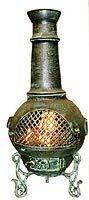 Blue Rooster - ALCH016-AG - Gatsby Cast Aluminum Chiminea - Antique Green - Medium by Blue Rooster. $349.95. Decorative Removable Rain Lid. Detailed Design. Non-Rusting Solid Cast Aluminum Alloy Body. Image May Vary - Please See Product Title for Actual Size and Color!. Safe Single Opening Traditional Chiminea. Big enough for full-size logs. This large outdoor chiminea makes a great centerpiece for entertaining friends and family.The Blue Rooster Company is a desi...