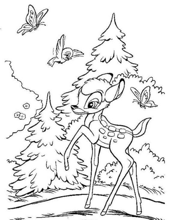 Cartoon Coloring, Happy Bambi Coloring Pages: happy bambi coloring ...