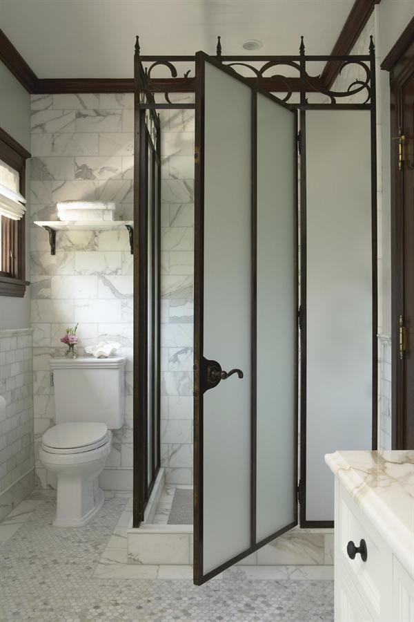 Modern Victorian shower enclosure, subway tile