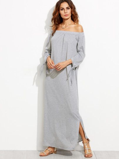 Shop Heather Grey Off The Shoulder Tie Sleeve Slit Maxi Dress online. SheIn offers Heather Grey Off The Shoulder Tie Sleeve Slit Maxi Dress & more to fit your fashionable needs.