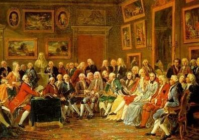 Le XVIII° siècle est le siècle des Lumières. Quand Louis XIV meurt, c'est son petit-fils Louis XV qui règne. Comme il est trop jeune pour gouverner, son oncle, le neveu de Louis XIV assure la Régence. En littérature, Voltaire et Rousseau sont des écrivains qui proposent des idées nouvelles. Ces idées vont se retrouver chez les révolutionnaires. Avec Montesquieu et Diderot, on les appelle les Philosophes (et écrivains) des Lumières - illustrattion : le Salon de Marie-Thérèse Goeffrin…