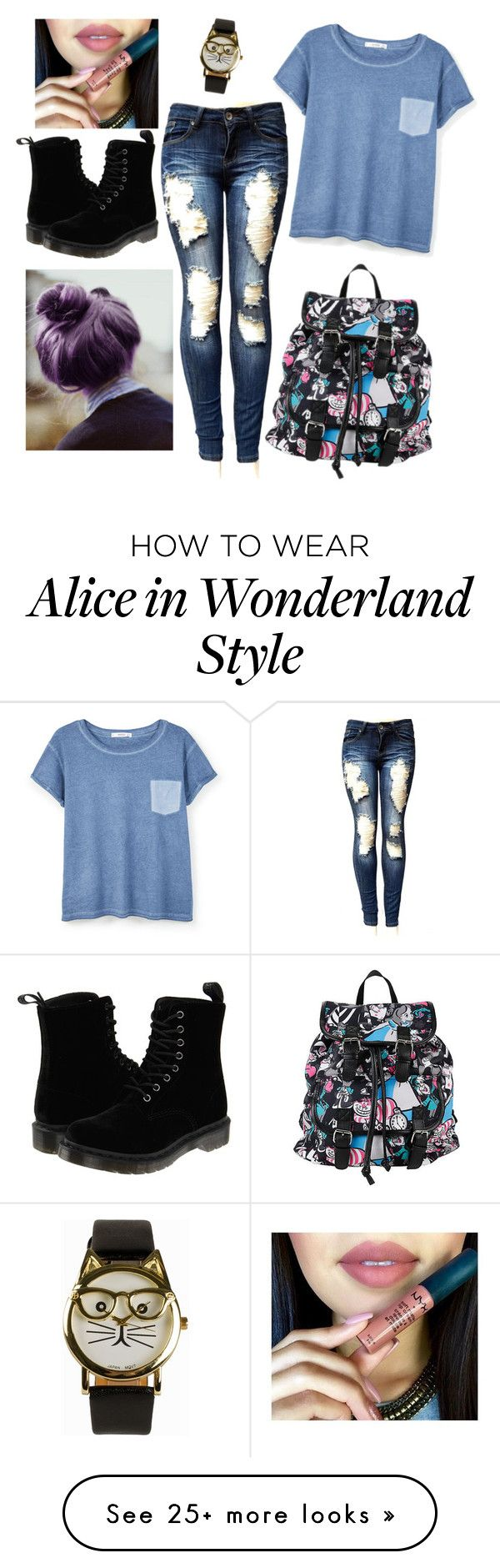 """Untitled #212"" by vasilevakatyaivanova on Polyvore featuring MANGO, Disney, JFR and Dr. Martens"