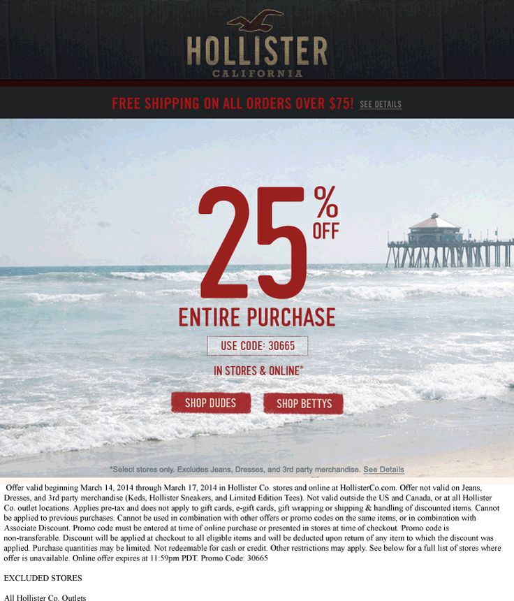image about Hollister Printable Coupon called Hollister on-line coupon codes december 2018 / Double coupon