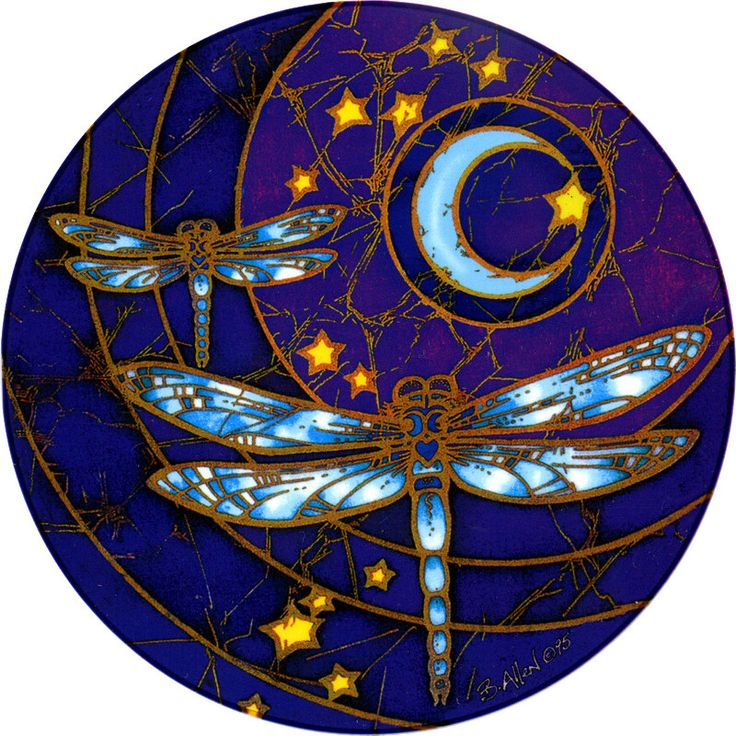 """Dragonfly Moon Window Sticker - Bring your windows to life with these luminous window stickers.High quality, permanent-stick artwork in beautiful translucent colors. For indoor or outdoor use. For any window, glass door or smooth flat surface. 4.5"""" Diameter."""