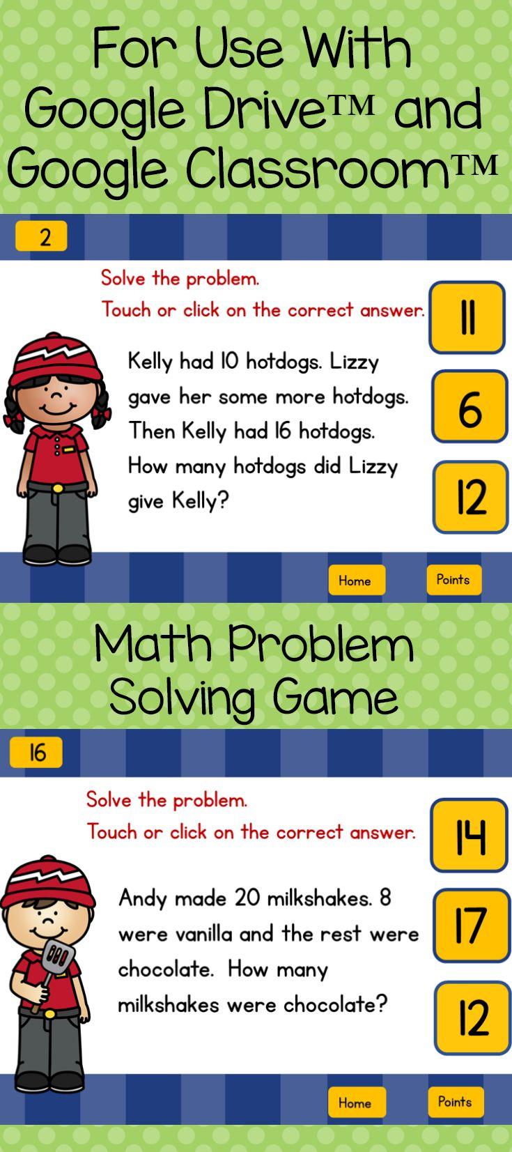 Math problem solving fast food fun for google classroom