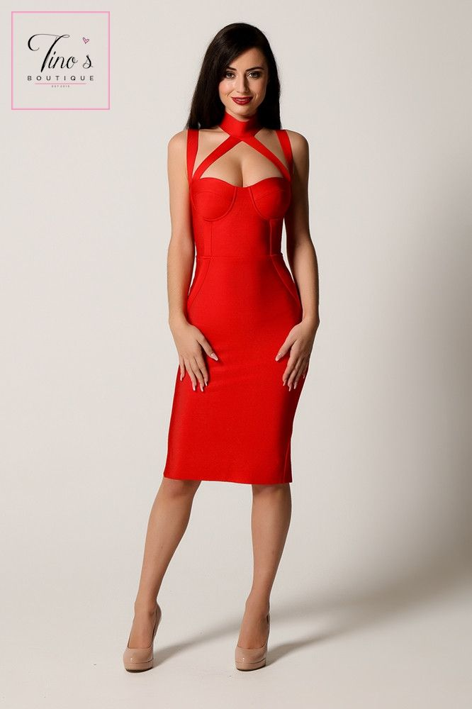 'Amber' Red Crossover Detail Bandage Dress