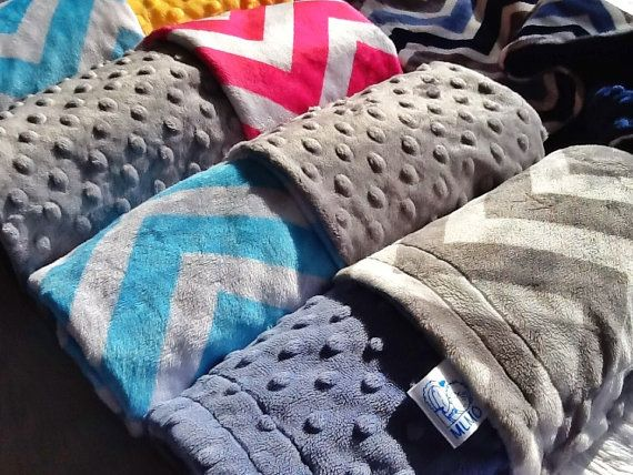 SOFT & LUXURIOUS chevron zig zag minky plush baby travel blanket. Perfect gift for a new mum for stroller, car seat, tummy time, comforter
