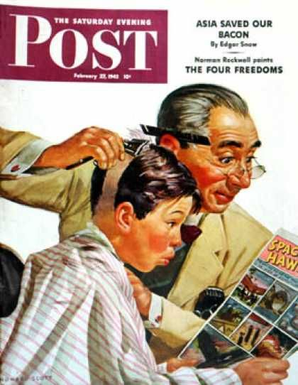 BARBER~Saturday Evening Post - 1943-02-27: Comical Haircut (Howard Scott)