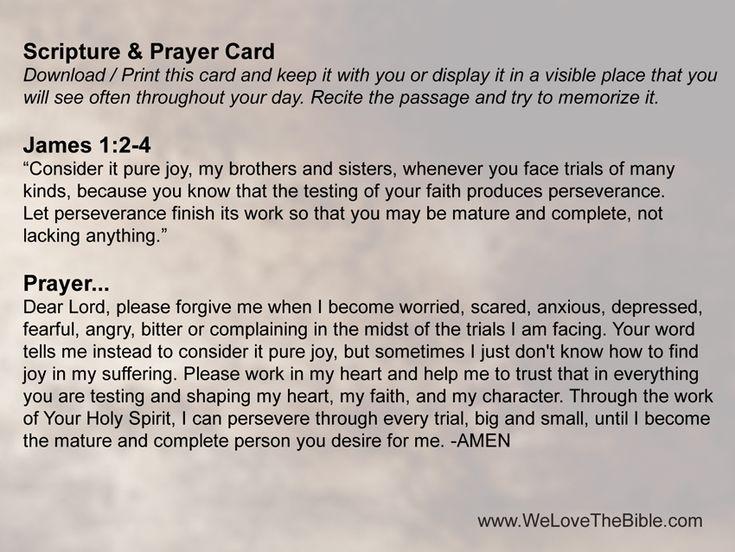 Scripture & Prayer Card - James 1:2-4