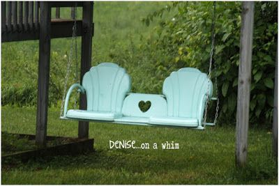 Upcycled metal chair swing. Denise...on a whim: Fabulous Farmhouse Tour: On the Back Porch