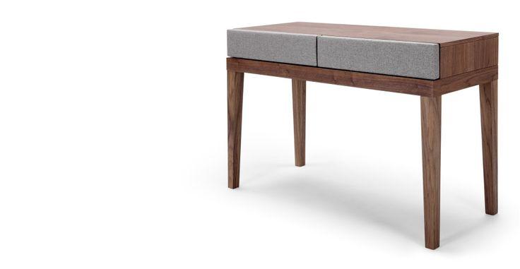 Lansdowne Upholstered Dressing Table, Walnut and Heron Grey | made.com