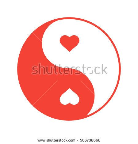 Yin Yang with hearts color icon. Isolated vector illustration