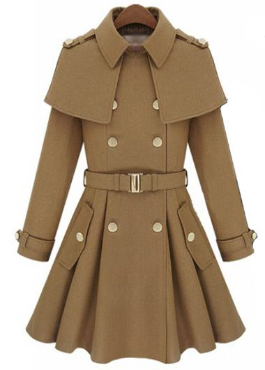 Turndown Collar Double Breasted Belted Cape Coat - USD $45.51