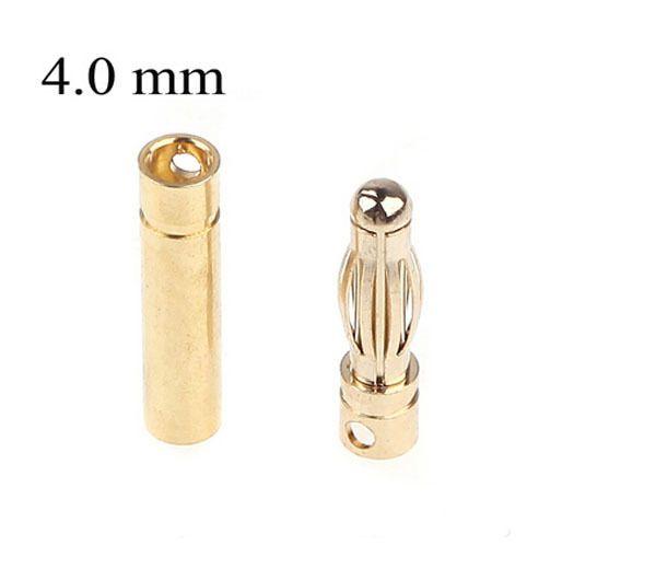 15 Pairs 4.0mm Copper Bullet Banana Plug Connectors Male + Female for RC Motor ESC Battery Part