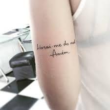 Resultado de imagem para tattoo livrai me de todo mal amem