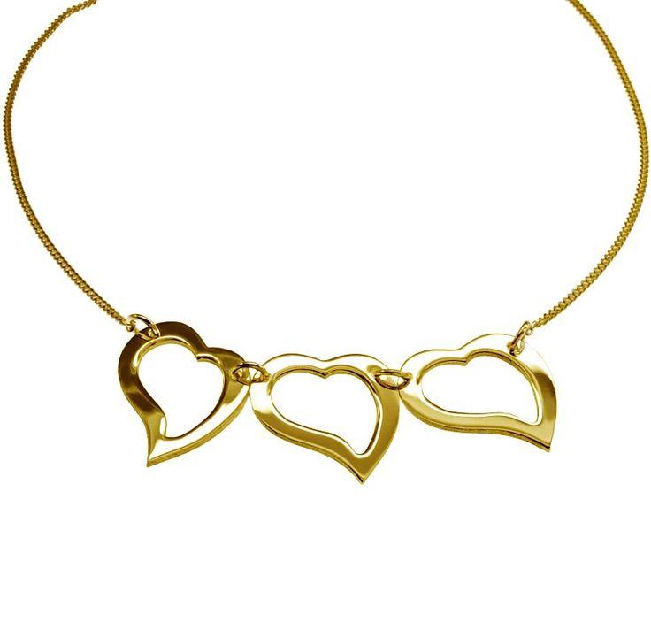 Edel Massiv 3-fach Herz Collier in 585 Gelbgold 45cm Echt Neu Halskette kaufen bei Hood.de - Material Gelbgold Farbe Gold