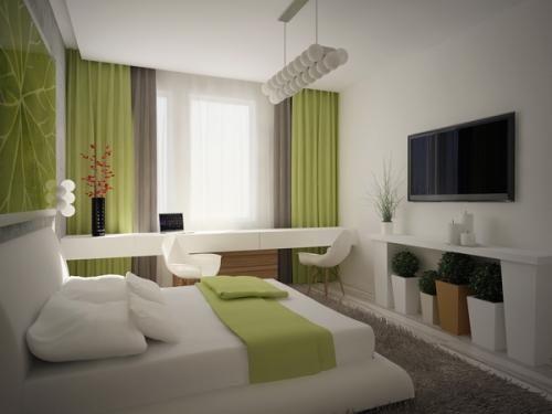 Телевизор в спальне на стене   Дизайн интерьера