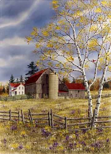 Autumn Farmstead-Painting by THE KATHY GLASNAP GALLERY 8873 COUNTY ROAD A FISH CREEK, WISCONSIN 54212 920-839-2110 e-mail: kglasnap@yahoo.com