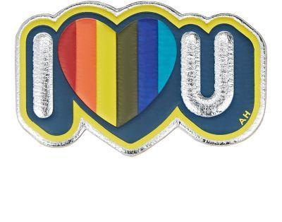 "ANYA HINDMARCH ""I Heart U"" Sticker. #anyahindmarch #bags #leather #sticker #metallic #accessory"