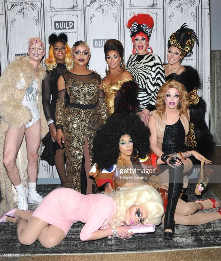 TV personalities AJA, Benedelacreme, Chi Chi Devayne, Kennedy Davenport, Milk, Morgan McMichaels, Shangela, Thorgy Thor and Trixie Mattel visit Build Series to discuss 'RuPaul's Drag Race: All Stars' at Build Studio on January 18, 2018 in New York City.