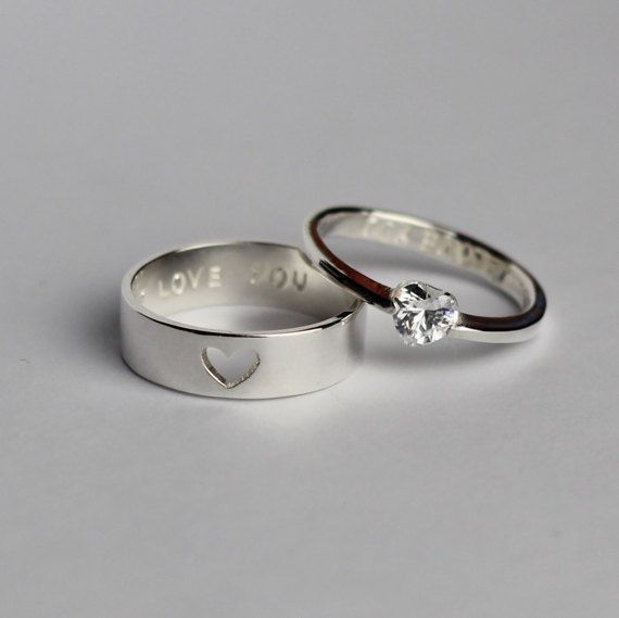 Couple Ring Set, His and Her Promise Rings, Boyfriend Gift