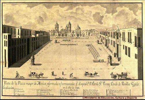 Ciudad de México a principios del siglo XX   la plaza mayor de la ciudad de mexico en el ano de 1793. Reformada Virrey Conde de Revilla