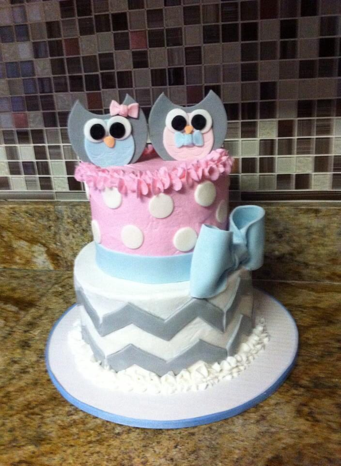 blue and pink owl baby shower cake grey chevron