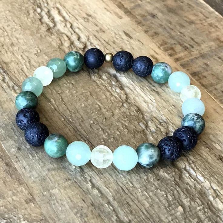 Heart Chakra Aromatherapy Lava Rock and Gemstones Diffuser bracelet