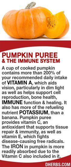A cup of cooked pumpkin contains more than 200% of your RDA of vitamin A, which aids vision, particularly in dim light as well as helps support cell reproduction, bone health, immune function healing. It has more of the refueling nutrient potassium, than a banana. Pumpkin puree provides vitamin C, that supports tissue repair immunity, vitamin E, which fights disease-causing free radicals. The iron in pumpkin is more readily absorbed due to the Vitamin C also included in it. #dherbs