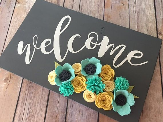 Welcome Sign/Painted Sign/Felt Flowers/Home by TheOldWhiteShedIowa