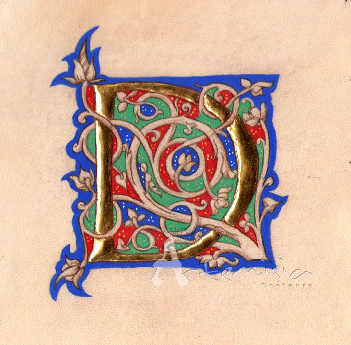 Medieval Illuminated Letters E   Illuminated letter D