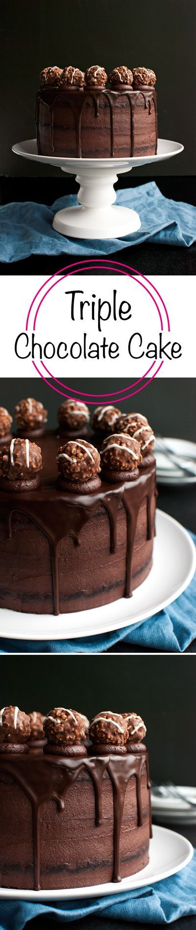 Triple Dark Chocolate Cake - chocolate cake filled with the BEST dark chocolate buttercream, and topped with chocolate ganache and truffles! Oh, and it's not that difficult to make for such an impressive cake, too! | http://thetoughcookie.com