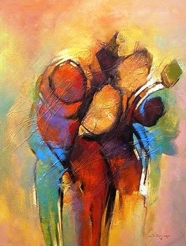 """Hefty"" by Chilonga Haji the Tanzanian semi-abstract expressionist."