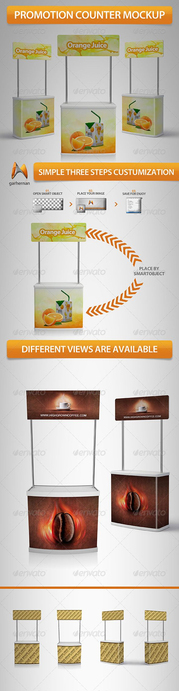 Promotion Stand Mockup #GraphicRiver This mock-up helps you to show your Suermarket Promotion Counter design, realistic and professional, 4 diferent views and you can edit on simple clicks. Features: - Fully editable - Organized and layered photoshop - Edit sides using Smart Objects - Mockup is in RGB Color - High Resolution 300dpi - Very crear documentation Others Mockup Created: 20October12 GraphicsFilesIncluded: PhotoshopPSD HighResolution: Yes Layered: Yes MinimumAdobeCSVersion: CS4…