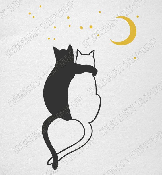 Сats love, svg, dxf, png, Cricut, Silhouette, Сat shirt, cats heart shaped tail, cat clipart, t shirt design, tattoo design, car decal